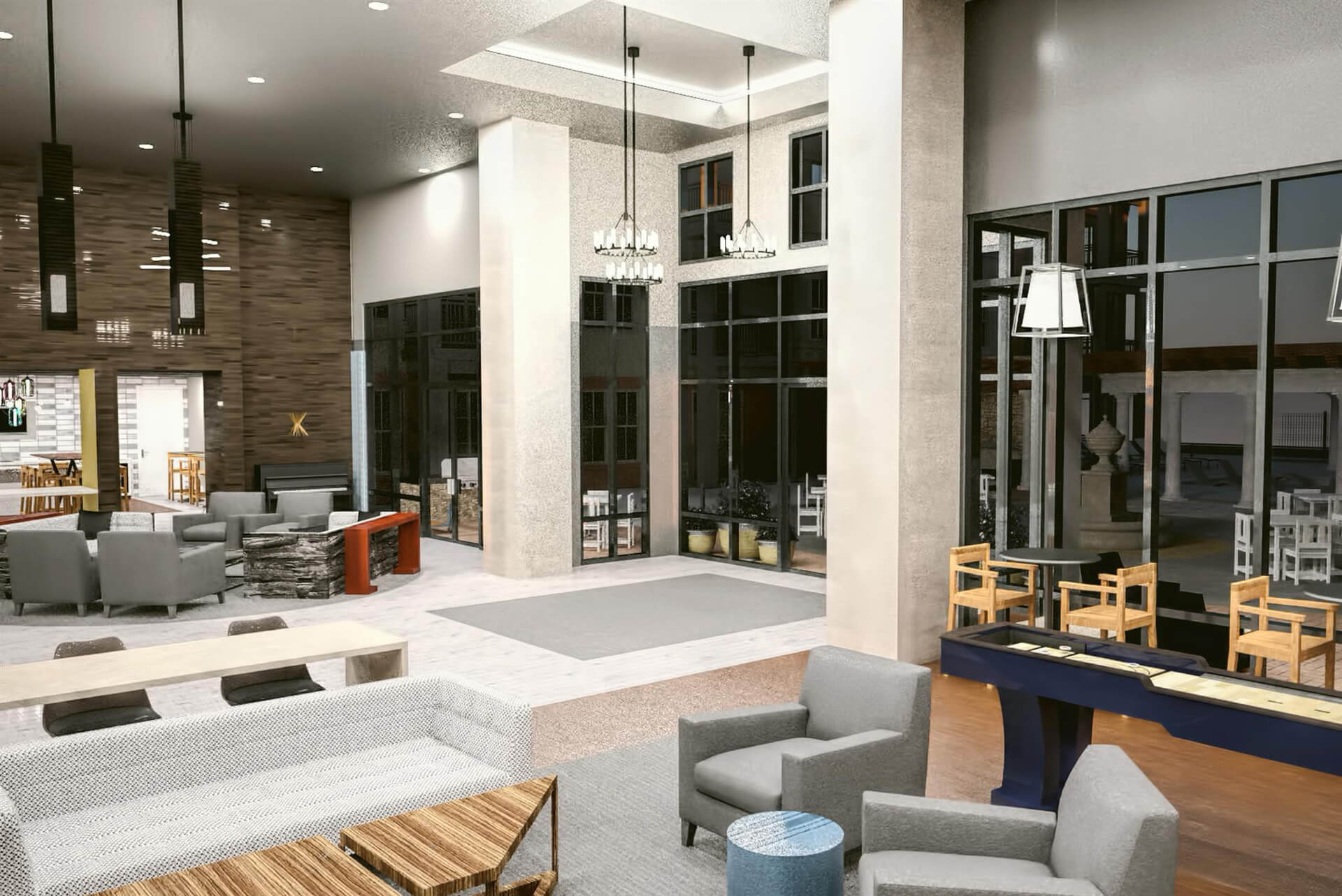 rendering of resident clubroom at The Heights at Goose Creek Village apartments in Ashburn, VA