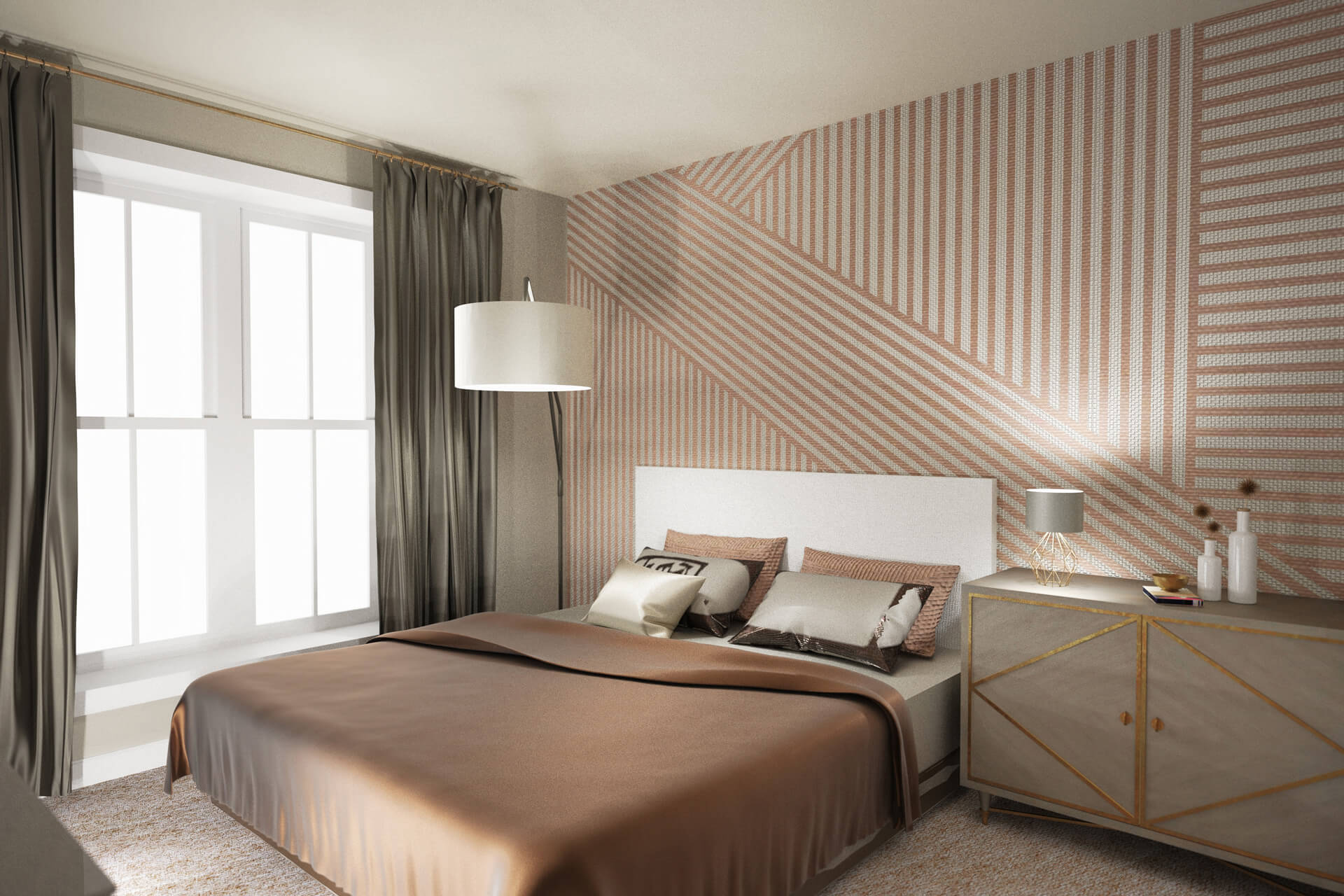 rendering of apartment bedroom at The Heights at Goose Creek Village apartments in Ashburn, VA with queen bed with brown and white linens, wallpapered walls, windows showing light, and armoir with lamp and toiletries on top